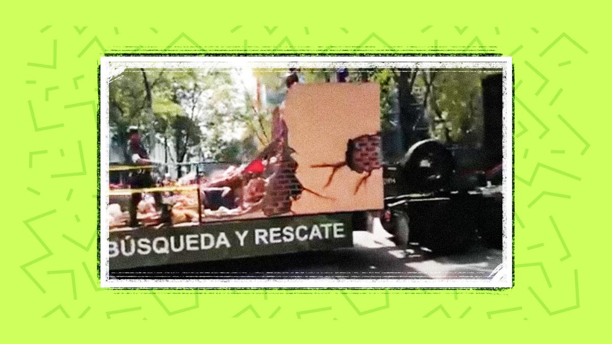 La Sedena muestra a una 'víctima aplastada' en su coche alegórico