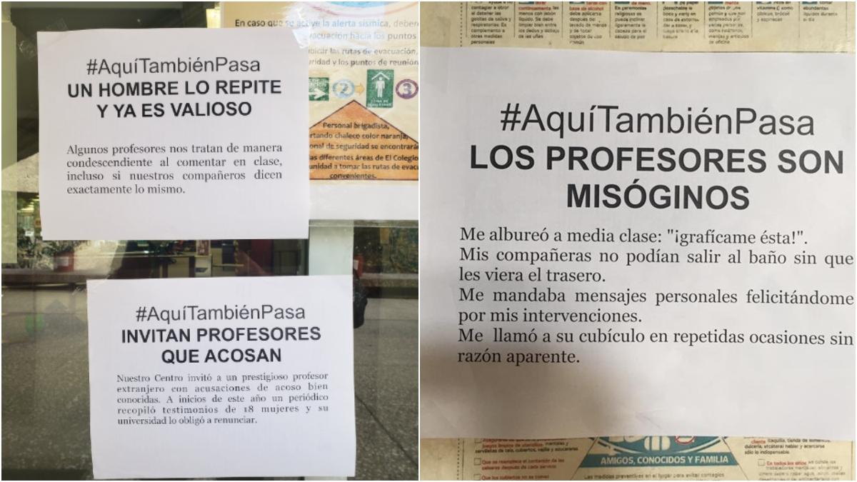 Alumnas del Colmex denuncian acoso sexual